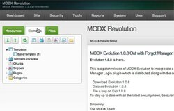 MODX image: The elements tab holds your templates and code that you need for your website.