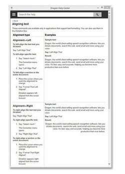 Dragon Professional image: The help center screen provides instructions about how to align text and other text formatting instructions.