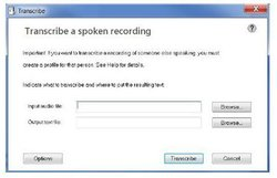 Dragon Professional image: The transcription process is easy. You simply open the audio file and click on the Transcribe button to begin.