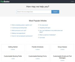 FlexBooker image: The knowledgebase has helpful articles you can reference when troubleshooting.