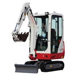 Takeuchi TB216 Compact image: The cab of this machine features a heater, air conditioning and a radio.
