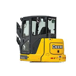 John Deere 50G Compact image: Inside the model's cab are mechanical and hydraulic controls.