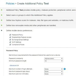 SOPHOS Endpoint Protection image: From the policies and configuration tab, you can define security settings such as password complexity.