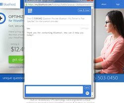 Bluehost image: Live chat is available anytime on Bluehost's website.