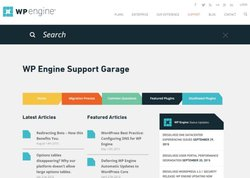 WP Engine image: WP Engine's Support Garage contains featured articles that answer questions about the service. You can also use the search bar to search for a specific answer.