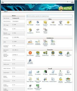 The control panel is standard but shows all the tools you need, plus your web host usage stats.