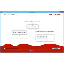 NoMachine image: After installing the software, the program offers instruction on how to connect to a remote desktop.