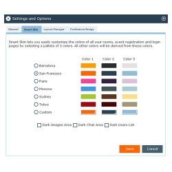 You can customize the colors of the meeting room to resemble your company's brand.