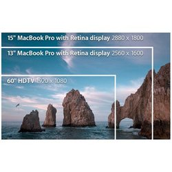 Apple MacBook Pro 13 image: While the 13-inch Retina display has better resolution than you get with a full HD (1920 x 1080) display, the resolution is slightly better on the 15-inch model.