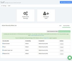 TimeTap image: You can assign roles to your staff so they can access and change the appointment calendar.