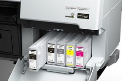 The printer uses 10 CMYK ink colors, including three shades of gray, two blacks, two cyans and two magentas.