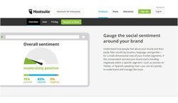 Hootsuite image: Using a sentiment meter, you can easily gauge and track overall consumer opinion of your business based on conversations through several social media sites.