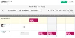 Ximble image: You can create a schedule in a day, week or month calendar view.