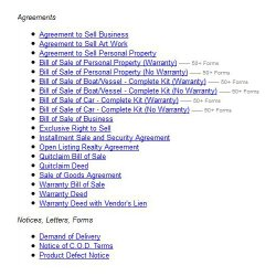 PublicLegal image: Both forms and supportive documents, such as notices and letters, are available.