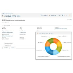 Project Insight image: Here is an example of Project Insight's doughnut chart. This particular chart displays information about existing bug issues in these hypothetical software projects.