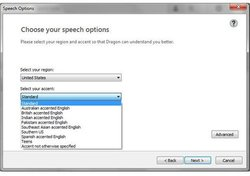 Dragon Premium image: You can select your accent on the speech options page.