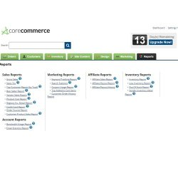 CoreCommerce image: This company offers more than 25 different reports in five categories.