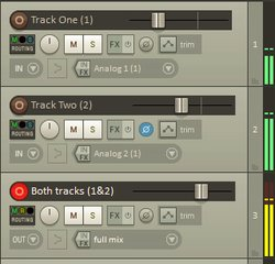 Reaper doesn't come with a built-in sound library, but sounds can be downloaded, edited and produced in the program. The track window can be used to combine two tracks into a master track.
