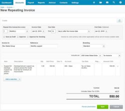 You can create recurring invoices using Xero, which saves time if you sell goods or services as a subscription.