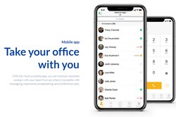 The mobile app enables business phone use outside of the office.