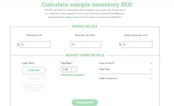 Kabbage's website features both loan and ROI calculators.