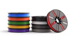 MakerBot's filament spools are available in three sizes and more than two dozen colors.