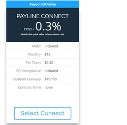 The Payline Connect plan allows you to accept credit cards online. You'll also pay this rate if you manually key-in transactions, such as payments you accept over the phone.