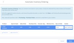 You can set up this accounting system to automatically reorder inventory items.