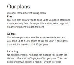 Faxx.us offers three pricing plans, including a free plan that lets you send 25 pages of fax per month at no charge.