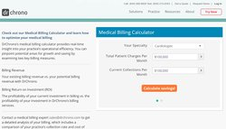 The website contains a tool designed to show prospective customers how to optimize their medical billing procedures.