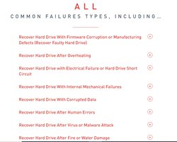 The website includes a list of different failures the company can handle.