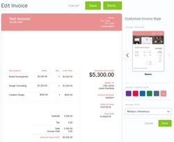 Customizing invoices is easy, though the options are basic. You can upload your logo or a photo, choose between two templates and fonts, and add an accent color.
