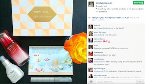 influencer marketing via instagram - case study Birchbox