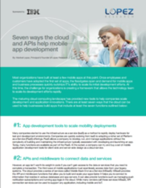 Seven Ways The Cloud and APIs Help Mobile App Development