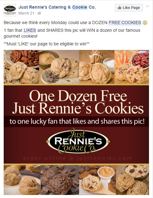 Free cookie offer from Rennie's Cookies Co. On FB
