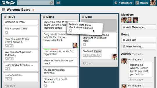 Screen shot of Trello