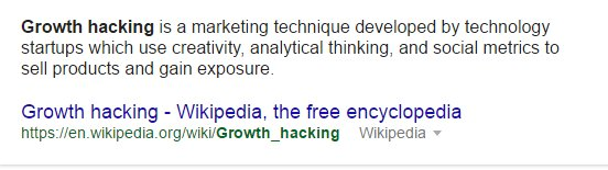 Screen shot Growth hacking definition google results