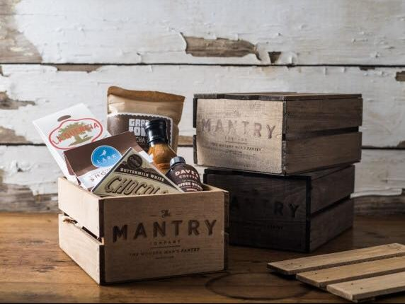 Mantry's wooden crates create a rustic feel