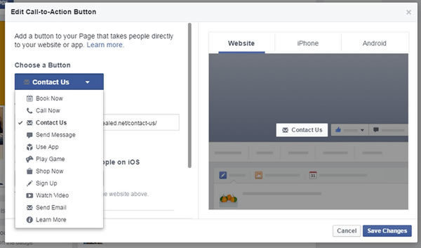 Example of a CTA on facebook