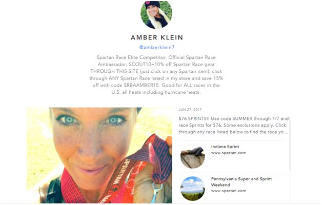 Amber Kleins Instagram profile  promotes her Scoutsee storefront