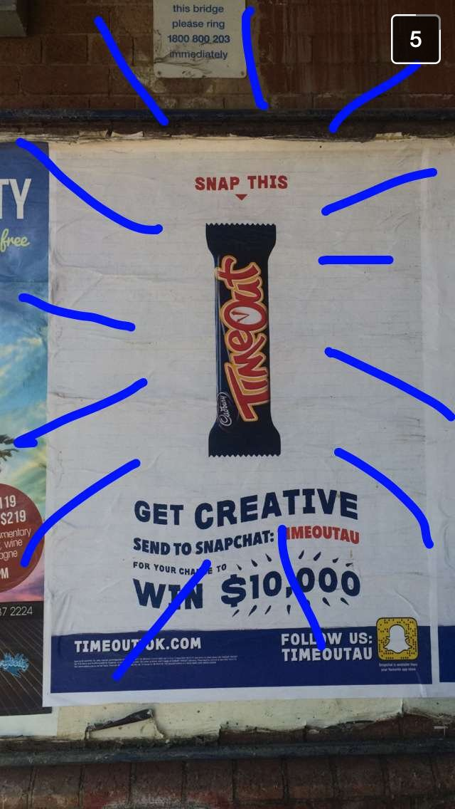 Timeout Candy bar Snapchat promotion