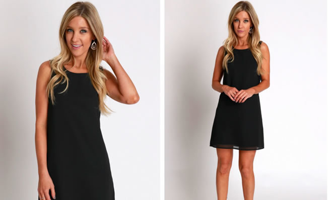 Photo shoot images of model in black dress