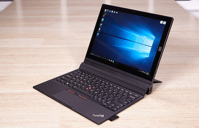 image for The ThinkPad X1 tablet has a sharp, 12-inch display and a handy, built-in kickstand. / Credit: Jeremy Lips