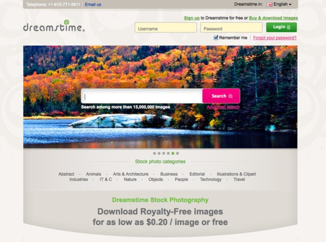 home page Dreamstime.com, stock photo service home page