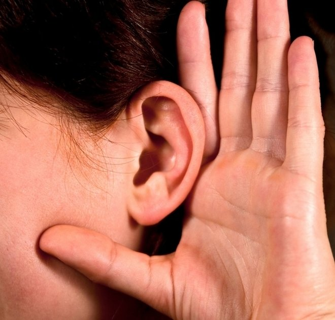 Had cupped by ear to listen