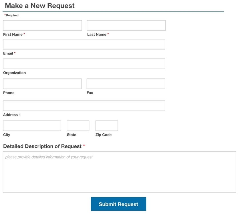 Make a new request form example