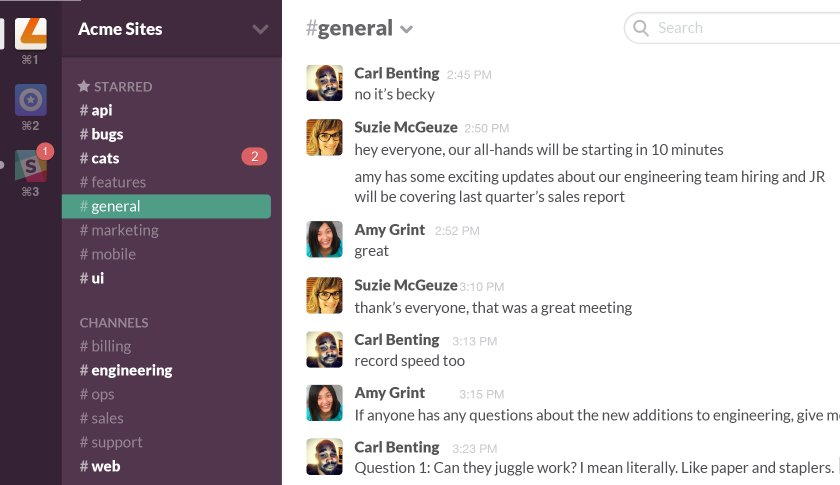 Slack mockup screenshot of conversations