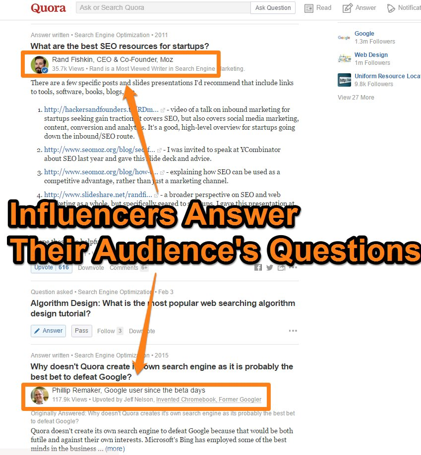 Quora - Influencers Engage with their Audience screen shot