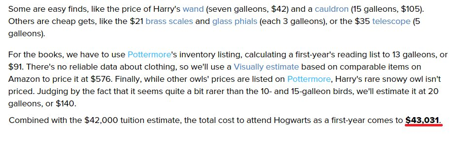 Blog post that calculates the cost to attend Hogwarts school of Wizardry.